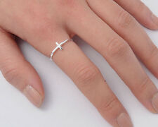 USA Seller Tiny Cross Ring Sterling Silver 925 Plain Best Deal Jewelry Size 5