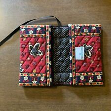 Vera Bradley Red Coin Book Cover Retired Quilted Cotton Fabric Leaf Design
