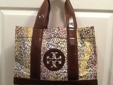 Tory Burch Large Canvas Brown Multicolor  PVC Tote