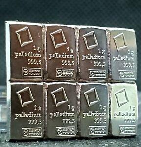 1 gram Palladium Bar - Valcambi Suisse non assay from 50 gram bar