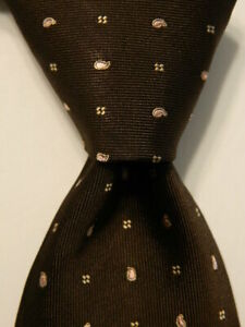 LUIGI BORRELLI NAPOLI Men's 100% Silk Necktie ITALY Luxury Geometric Brown EUC