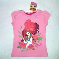 DISNEY t-shirt BELLE princesse 3 4 5 6 ans la belle et la bête rose NEUF