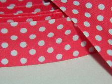 3m Schrägband Nahtband Falzband Einfassband kleine weiße Punkte lachs hellrosa
