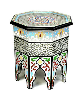 Moroccan Side Table Silver Accent End Corner Piece Painted Handmade Authentic