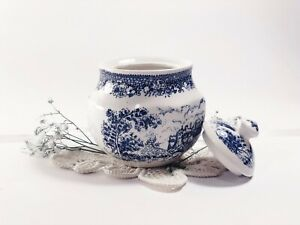 """Ironstone China by Matsumura&Co Japan vintage porcelain sugar bowl with cover 3"""""""