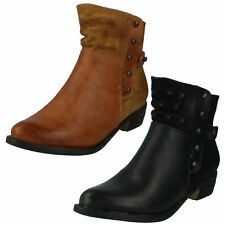 LADIES SPOT ON ZIP UP LOW BLOCK HEEL TAN WINTER CASUAL ANKLE BOOTS F5R0187 SIZE