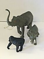 Vintage 1980's Retro 1987 Plastic Elephant With Tusk Mom Baby Gorilla Toy Lot