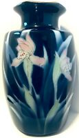 "Pier 1 Japanese Vase Orchid Flower Asian 6 panel porcelain 7.25"" H cobalt blue"
