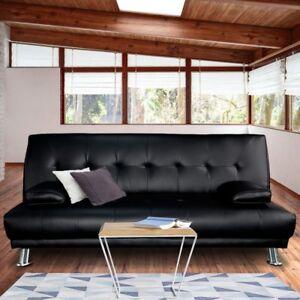 sofa-6105-pu-Manhattan 3 Seater Faux Leather Sofa Bed Couch Lounge Futon - Black