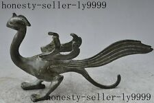 "9"" chinese fengshui bronze animal Phoenix bird Suzaku god  beast lucky statue"