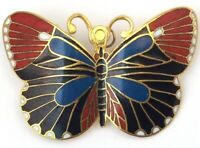 VINTAGE BUTTERFLY BROOCH ENAMEL DETAIL GOLD TONE METAL INSECT JEWELRY PIN