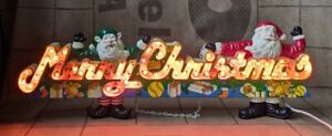 Vintage 80s Merry Christmas Light Up Sign Decor Tested Working 3 Motion Lights