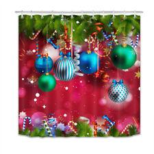 Christmas Baubles Pine Tree Twig Candy Cane Shower Curtain Set Bathroom Decor