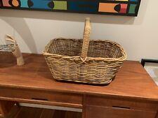 VINTAGE Retro Cane Wicker Basket Picnic Shopping Display Plants Storage