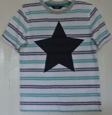 New boys 100% cotton T-shirt White stripe age 12-18 months