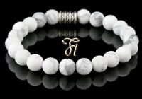 Howlith Armband Bracelet Perlenarmband Buddha weiß matt 8mm