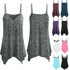 Women Loose Camisole V Neck Sleeveless Strappy Baggy Vest Tunic Tank Top Casual