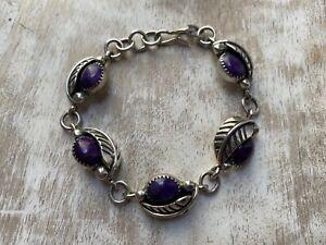 Amazing Southwest Purple Sugilite Sterling Silver 925 Signed JBE Bracelet
