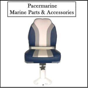 High Back Blue-G-W Helm Seat & Fixed Pedestal 760mm