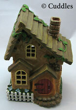Fairy Garden Cottage House Windows Red Door Fence  Light Up Ganz Fantasy Mini