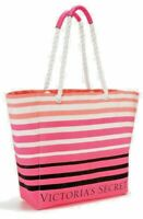 Victoria's Secret 2018 Large Canvas Striped Tote Bag with Pom Pom Pink, Beach,
