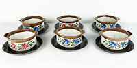 6 Suppentassen mit Unterteller GDR Tasse Teller DDR Keramik 80er Blumen Motiv