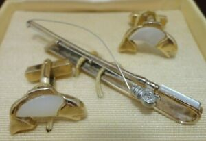 Swank Mens Fishing Rod Tie Clip & Fish Cuff Links with Mother of Pearl