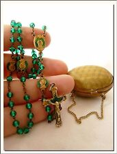 ANTIQUE 1920's MINIATURE FRENCH EGG LOCKET PURSE & ROSARY w/ EXTRA MEDALS INSIDE