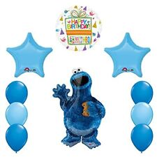 Sesame Street Cookie Monsters Birthday party supplies and Balloon Decorations