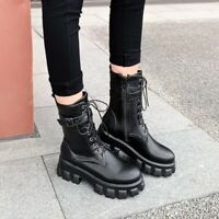 Womens Fashion Punk Round Toe Lace Up Motorcycle Shoes Chunky Heels Ankle Boots