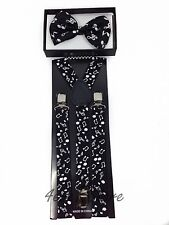 Men and Women Combo Music Notes Style Suspender + Bow Tie