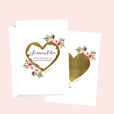 PERSONALISED WILL YOU BE MY BRIDESMAID MOH SCRATCH OFF GOLD HEART GREETING CARD