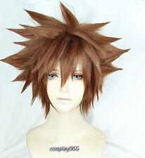 KINGDOM HEARTS 3 Sora Wigs Short Brown Heat Resistant Anime Cosplay Wig +Wig Cap