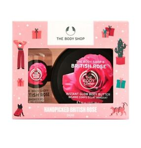 THE BODY SHOP HANDPICKED BRITISH ROSE BODY BUTTER SHOWER GEL DUO TRAVEL  SET NEW