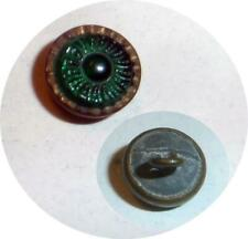 GREEN GLASS IN METAL CHESHIRE JEWEL SMALL VEST BUTTON