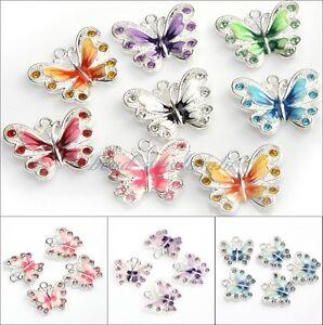 5/10pcs Beautiful Multicoloured Enamel Animal Butterfly Pendant Charms