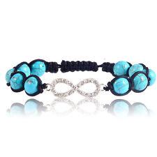 Women Turquoise Bead Wrist Shamballa Bling Crystal Infinity Charm Bracelet Chain