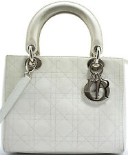 Lady Dior mm Christian Dior Handbag Sac à main Sac veau calfskin White