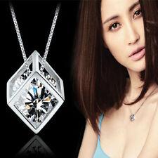 Crystal Cube Pendant With Square Design Chain In Velvet Gift Bag