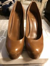 Yves Saint Laurent YSL Tan LeatherPlatform 'Palais' Pump Heel Sz 41/US 10