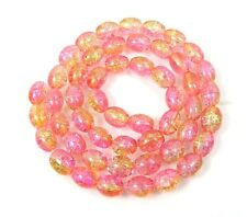 8x6mm Czech Glass Crackle Cracked Barrel Rice Beads 2 Tone - choose color