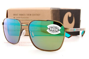 New Costa Del Mar Sunglasses Wader Antique Gold Tortoise Green Mirror 580G Polar