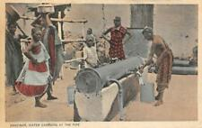 "Zanzibar ""Water Carriers At The Pipe"" Tanzania Africa c1910s Vintage Postcard"