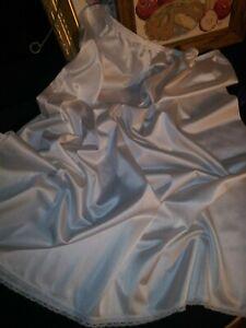 """Vtg Bridal Wedding White Silky Half Dress Slip Long Slip Sexy Lingerie XL 44"""""""