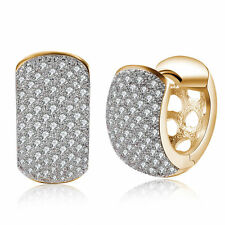 Romantic Women 18K Gold Plated Jewelry Crystal Ear Buckle Hoop Huggie Earrings