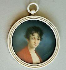 Portrait Miniatur einer jungen Frau, Gouache, 2.Hälfte 19. Jh., im runden Rahmen