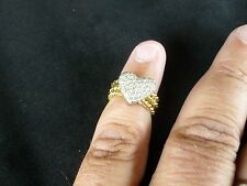 CHIC VINTAGE 18 K GOLD RING WITH 1 CARAT PAVE DIAMONDS IN SHAPE OF A HEART RING