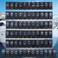Waterproof Rocker Switch ON-OFF Dual Blue LED Light 12V 24V Boat Car Marine Dash