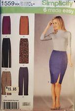 Simplicity Karen Z  6 made easy pattern 1559 Misses' Slim Pants, Skirts  sz 8-14
