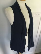 Fat Face Ladies Blue Sleeveless Waterfall Cardigan Size M. Good Condition.
